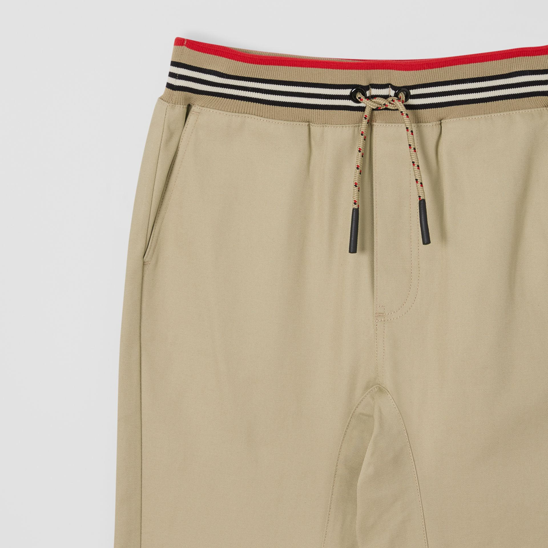 Icon Stripe Detail Cotton Twill Drawcord Trousers in Honey   Burberry United Kingdom - gallery image 5