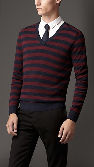 Striped Piqué Silk Cotton Sweater