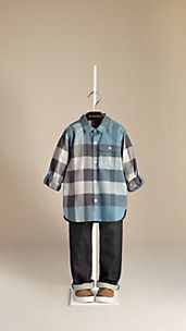 Roll-Sleeve Check Cotton Shirt
