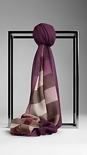Check Ombre Silk Scarf