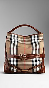 Large Bridle House Check Hobo Bag