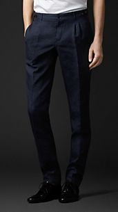 Linen Wool Silk Tailored Trousers