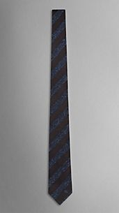 Striped Textured Silk Jacquard Tie