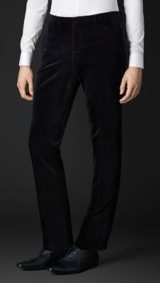 丝绒锥形紧腿长裤图片