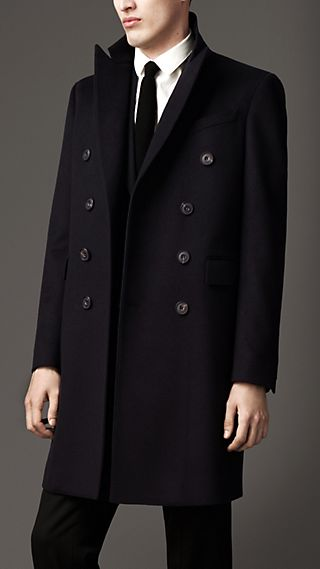 Cashmere Rainwear Peak Lapel Coat