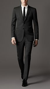 Modern Fit Virgin Wool Herringbone Suit