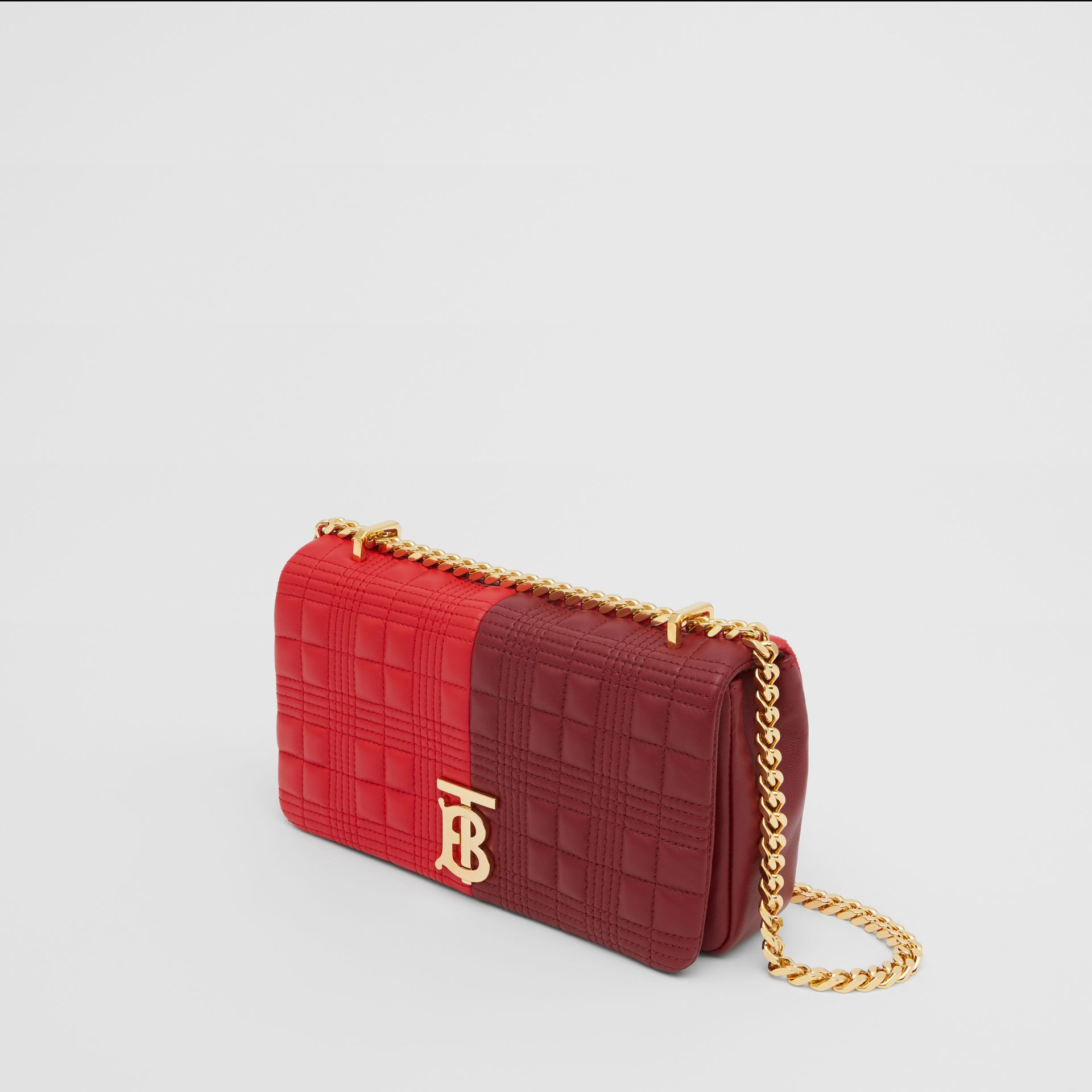 Small Quilted Colour Block Lambskin Lola Bag in Bright Red/burgundy - Women | Burberry United Kingdom - gallery image 3