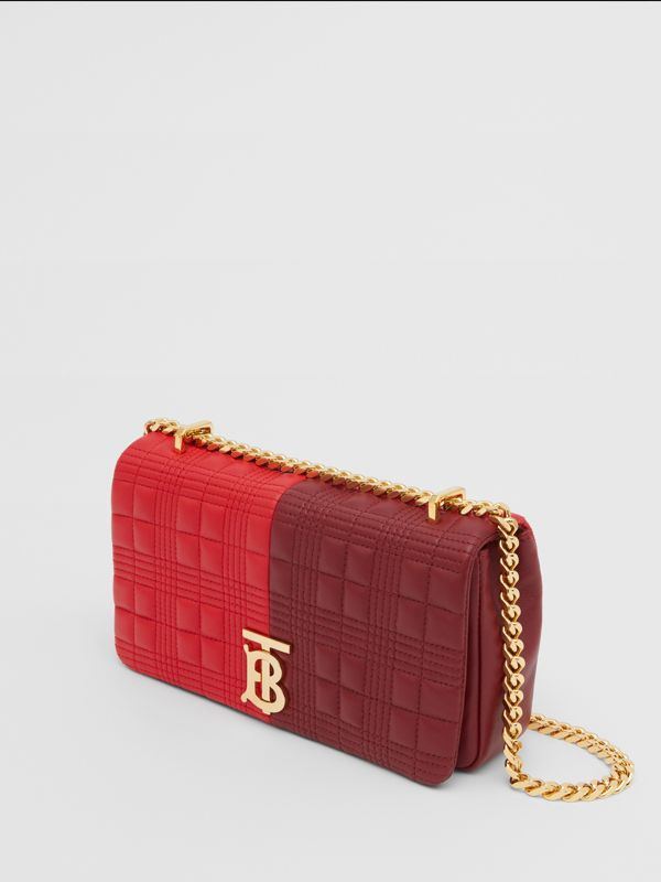 Small Quilted Colour Block Lambskin Lola Bag in Bright Red/burgundy - Women | Burberry - cell image 3