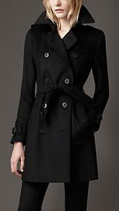 Trench-coat mi-long en laine et cachemire