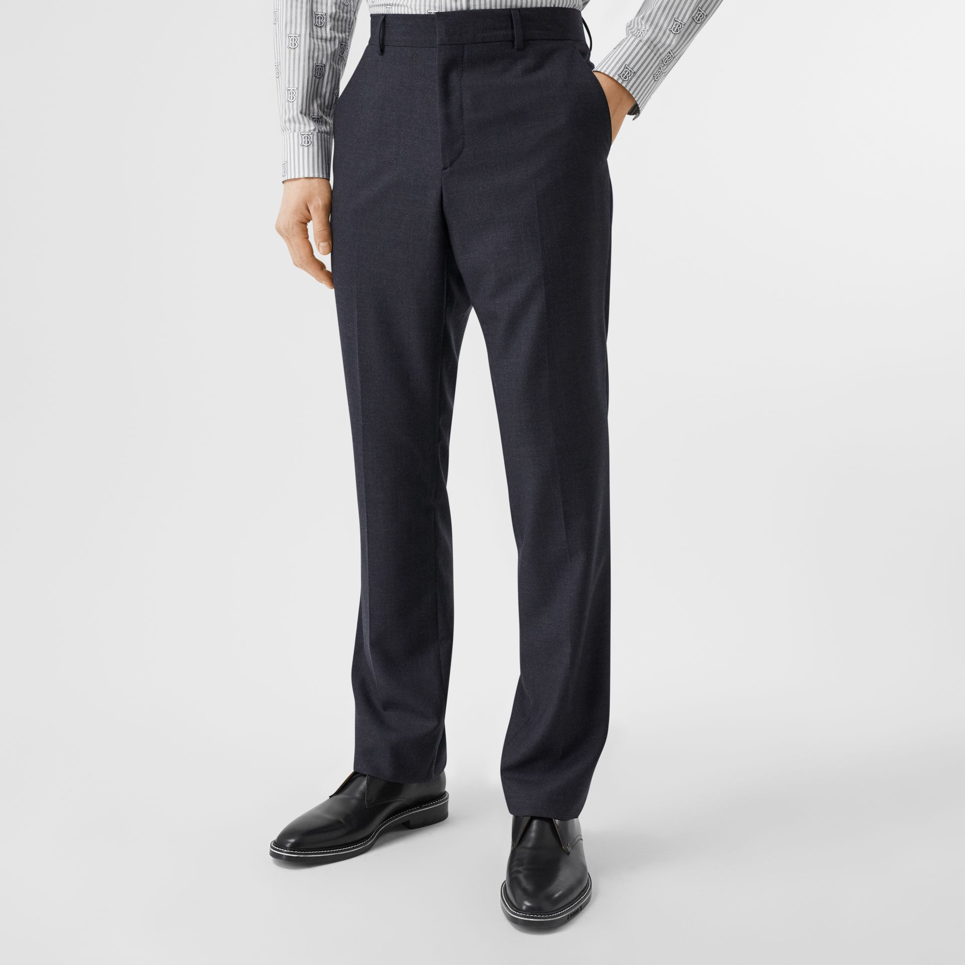 Classic Fit Wool Three-piece Suit in Navy - Men | Burberry - gallery image 4