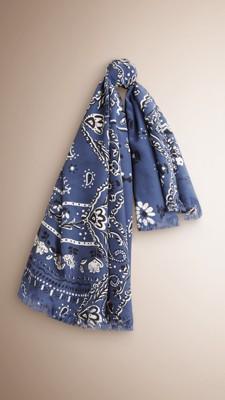 佩斯里螺旋花纹丝绸方巾