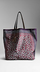 Geometric Diamond Print Tote Bag