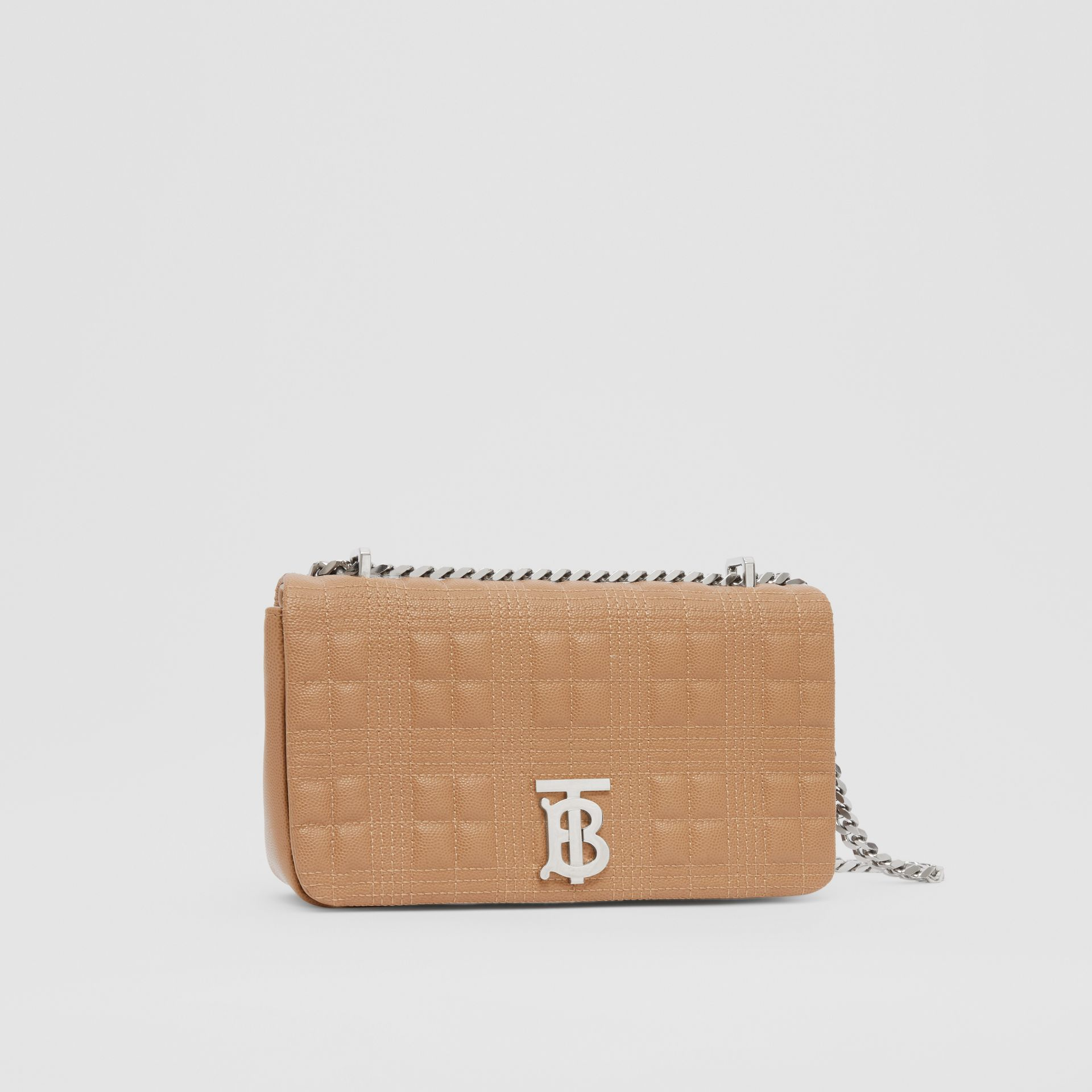 Small Quilted Grainy Leather Lola Bag in Camel/palladium | Burberry United Kingdom - gallery image 8