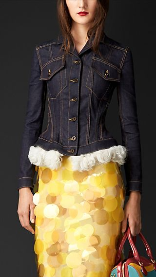 Wasp Waist Denim Jacket with Shearling