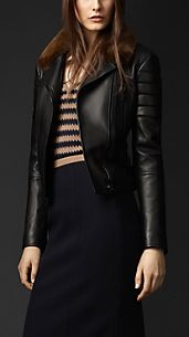 Mink Collar Biker Jacket
