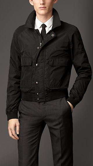 Leather Detail Nylon Blouson
