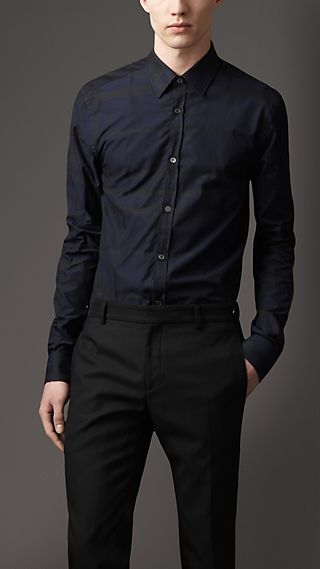 Modern Fit Jacquard Check Shirt