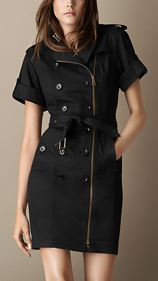 Zip-Front Trench Dress