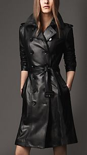 Trench-coat long en cuir d'agneau