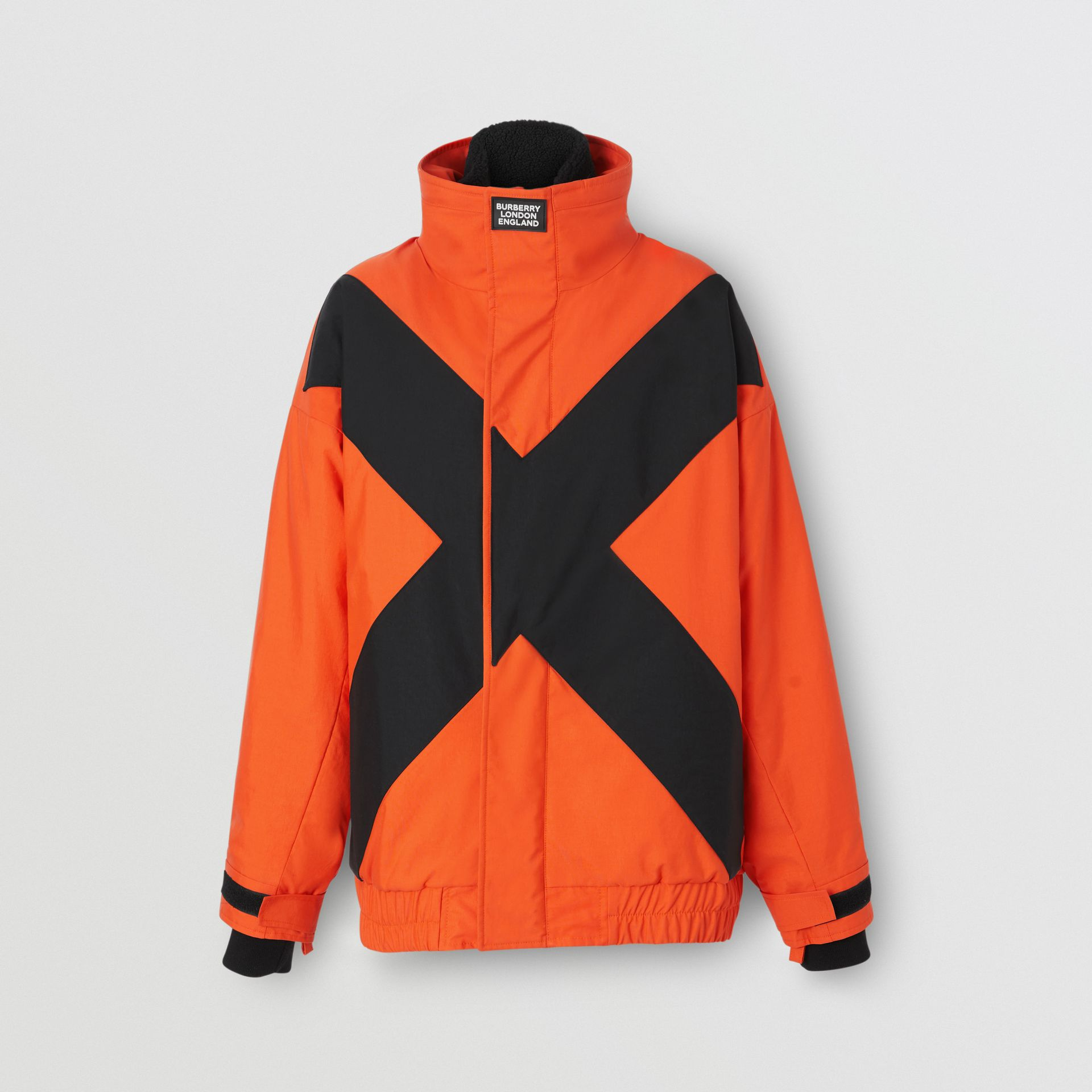 Panelled Nylon Track Jacket with Detachable Warmer in Bright Orange - Women | Burberry United Kingdom - gallery image 3