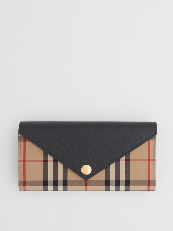 Portafoglio continental con motivo Vintage check e dettaglio in pelle (Nero)