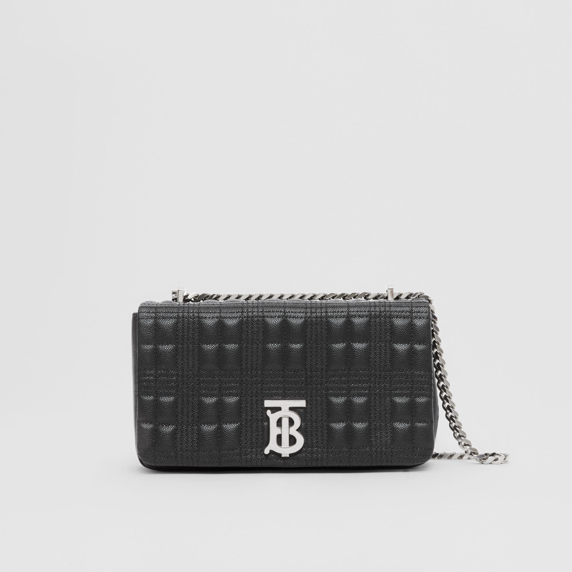 Small Quilted Grainy Leather Lola Bag in Black/palladium | Burberry United Kingdom - gallery image 0