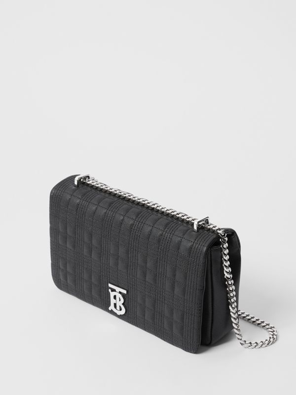 Medium Quilted Grainy Leather Lola Bag in Black/palladium - Women | Burberry United Kingdom - cell image 3