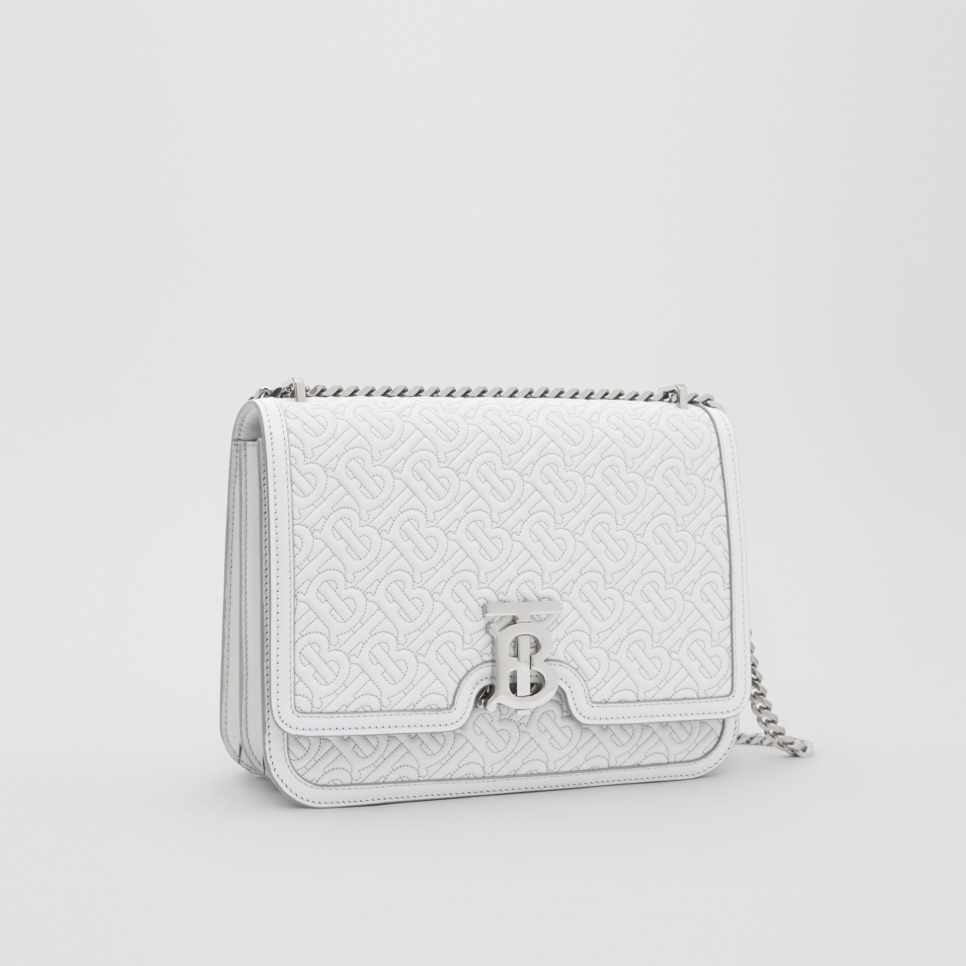 Medium Quilted Monogram Lambskin TB Bag in Light Pebble Grey - Women | Burberry Australia - gallery image 6