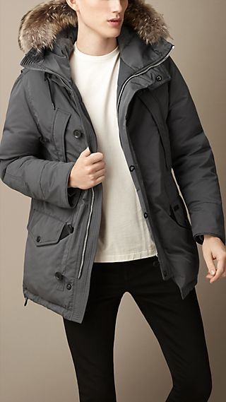 Down-Filled Technical Parka with Fur Trim