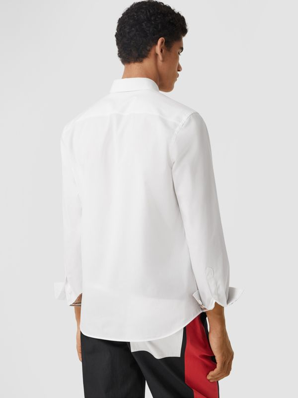 Slim Fit Monogram Motif Stretch Cotton Poplin Shirt in White - Men | Burberry United Kingdom - cell image 2