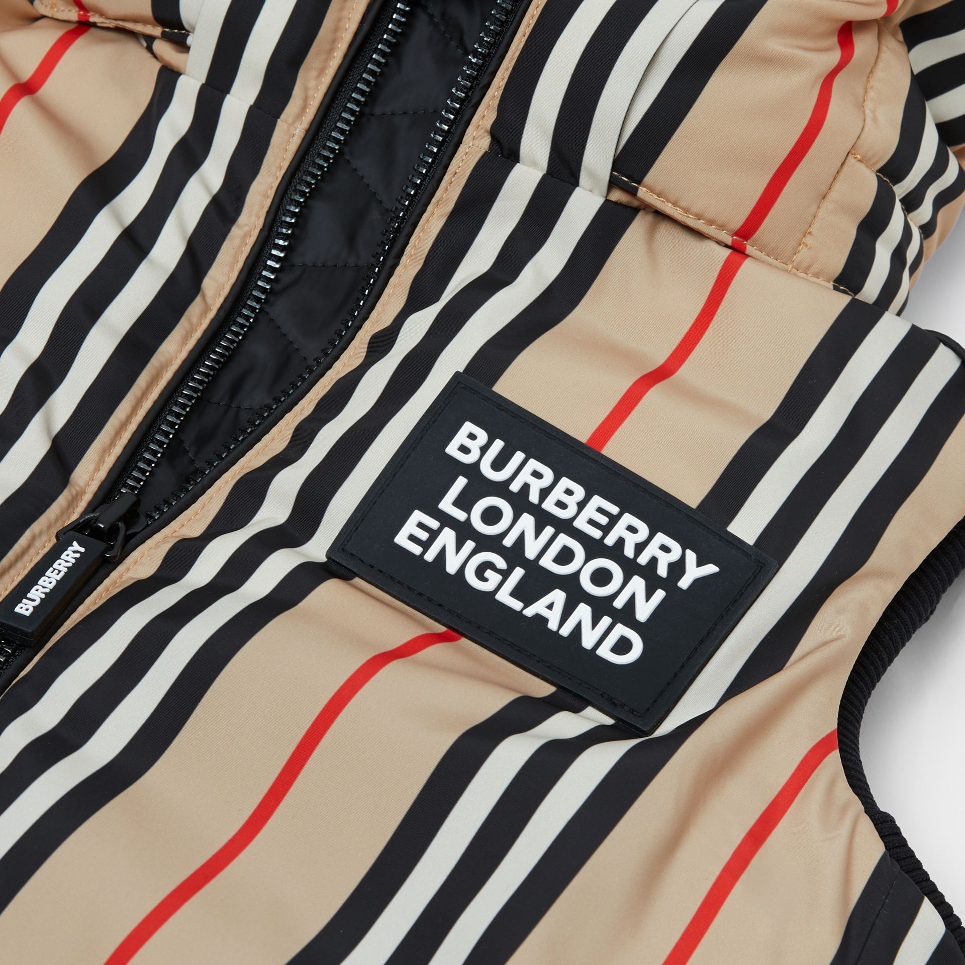 Detachable Hood Icon Stripe Puffer Gilet in Archive Beige   Burberry - gallery image 6