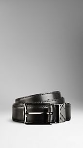 Check Detail Leather Belt