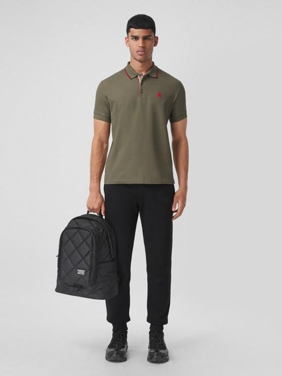 Monogram Motif Cotton Piqué Polo Shirt in Dark Fern Green