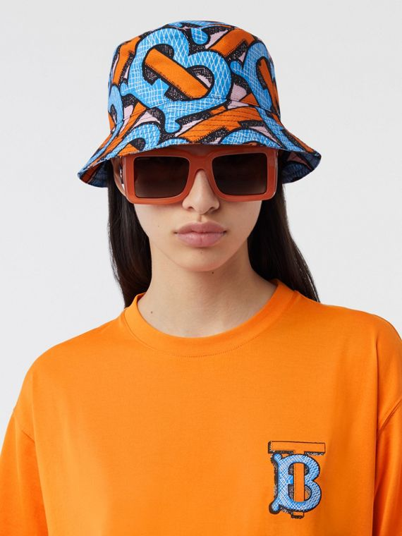 Monogram Print Cotton Canvas Bucket Hat in Bright Cobalt