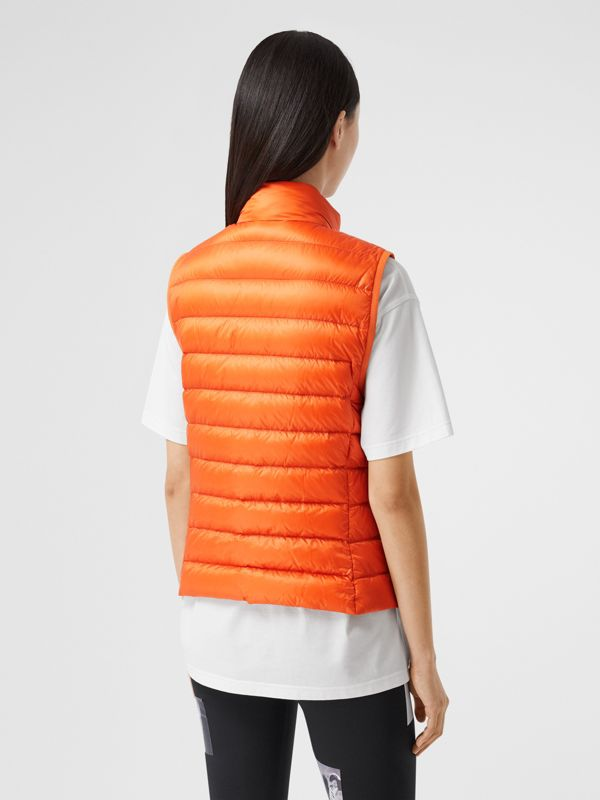 Logo Print Lightweight Puffer Gilet in Bright Orange - Women | Burberry United Kingdom - cell image 2