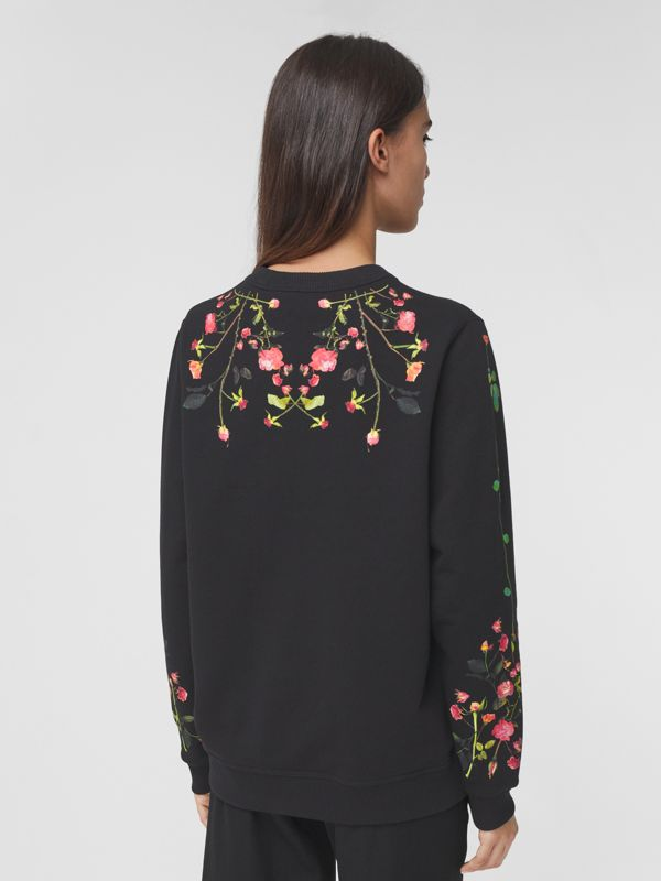 Rose Print Cotton Oversized Sweatshirt in Black - Women | Burberry - cell image 2