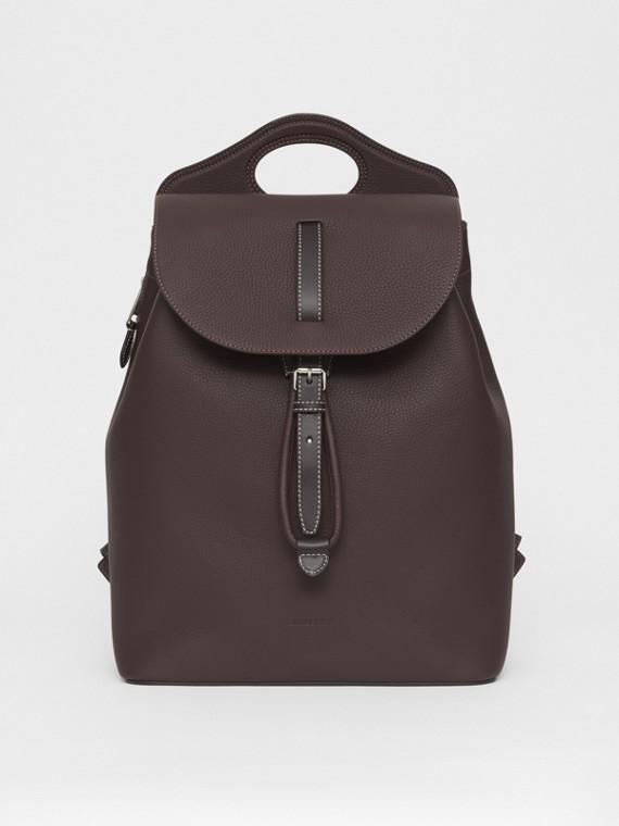 "Rucksack ""Pocket"" aus genarbtem Leder (Dunkles Lehmbraun)"