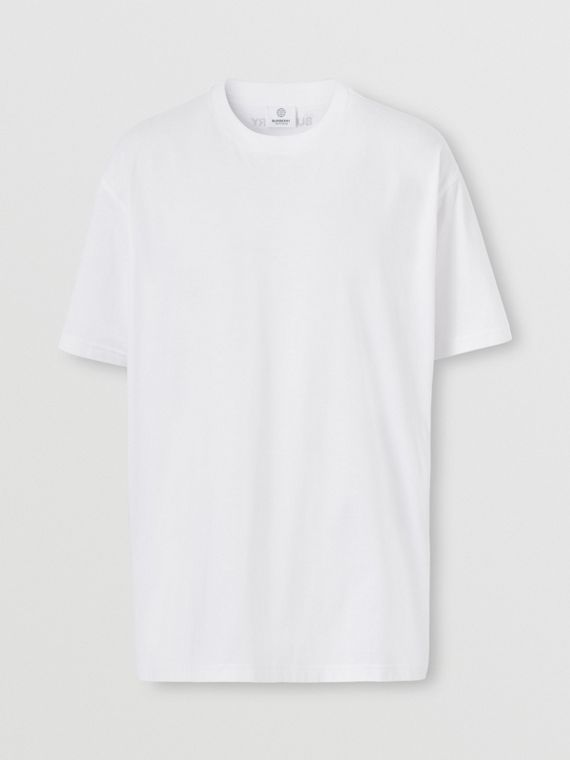 Monogram Stripe Print Cotton Oversized T-shirt in White