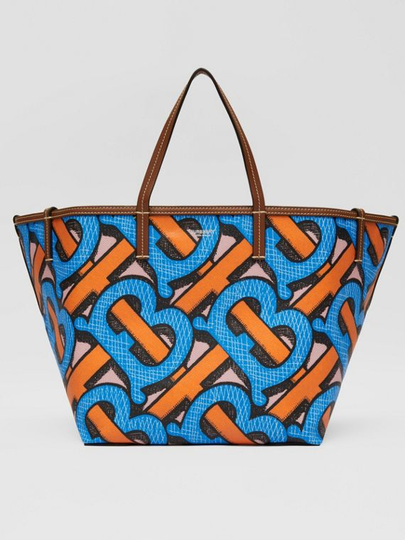 Mini Monogram Print E-canvas Beach Tote in Bright Cobalt