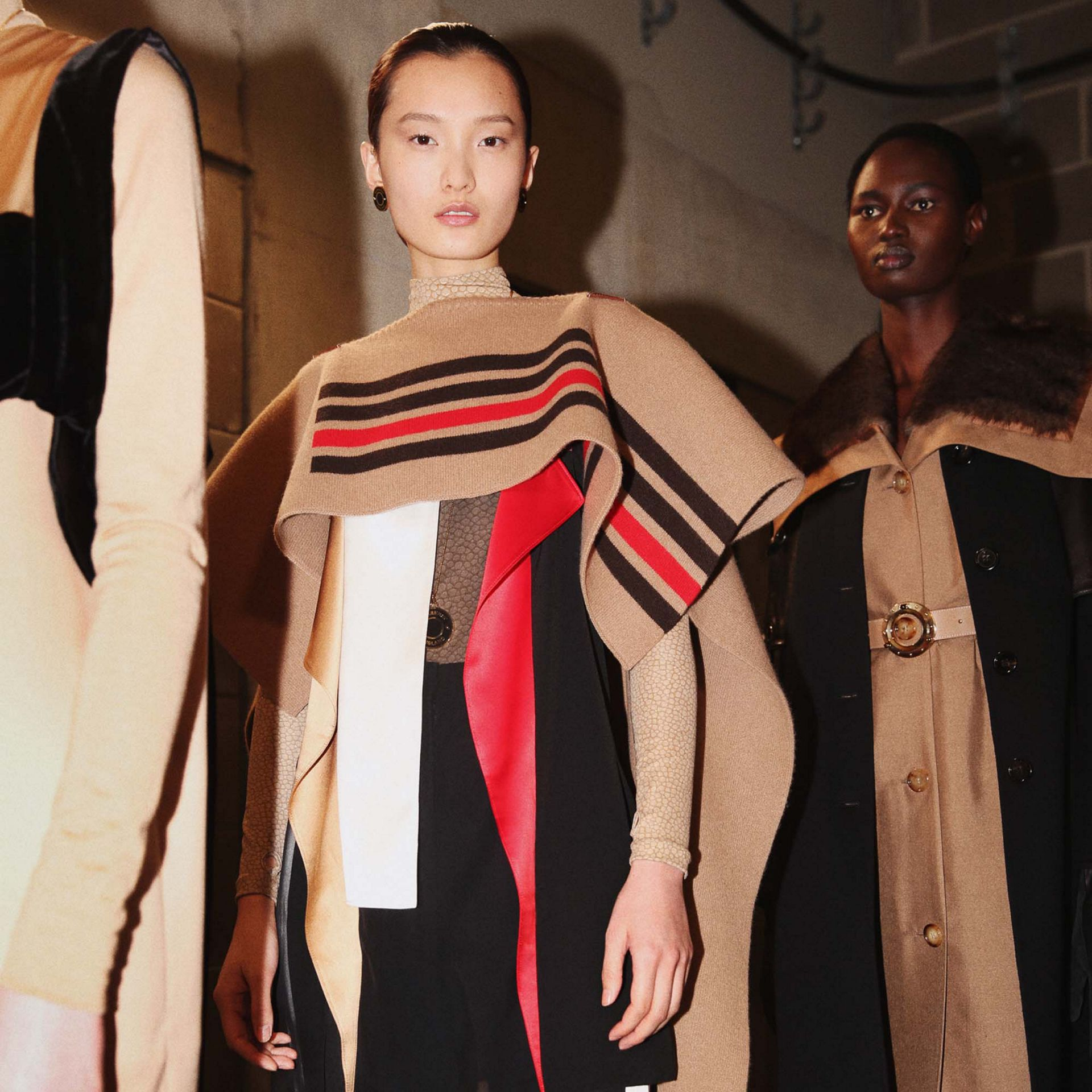 Leather Detail Colour Block Silk Top in Black - Women | Burberry - gallery image 1
