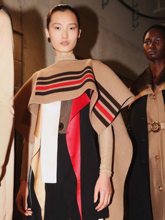 Leather Detail Colour Block Silk Top in Black - Women | Burberry - cell image 1
