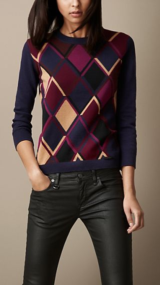Modern Argyle Cashmere Cotton Sweater