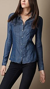 Tab Collar Denim Shirt