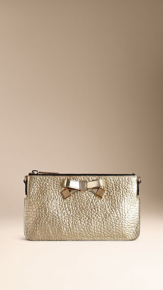 Heritage Grain Leather Bow Detail Clutch Bag