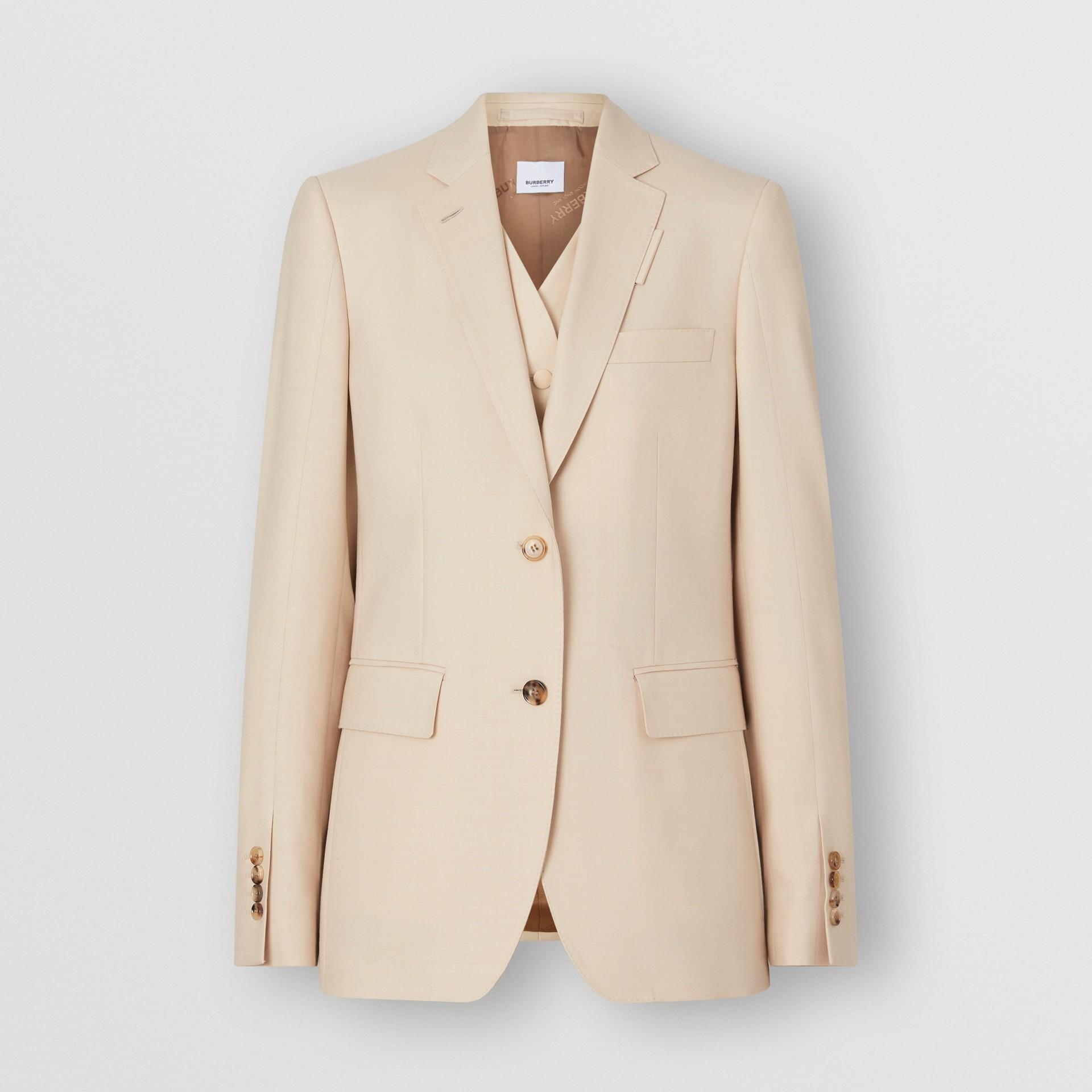 Waistcoat Detail Mohair Silk Blend Blazer in Sesame - Women | Burberry - gallery image 3