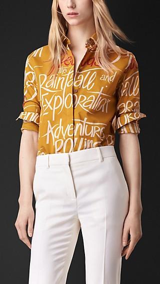 Book Cover Print Silk Shirt