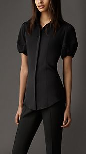 Puff Sleeve Stretch-Silk Shirt