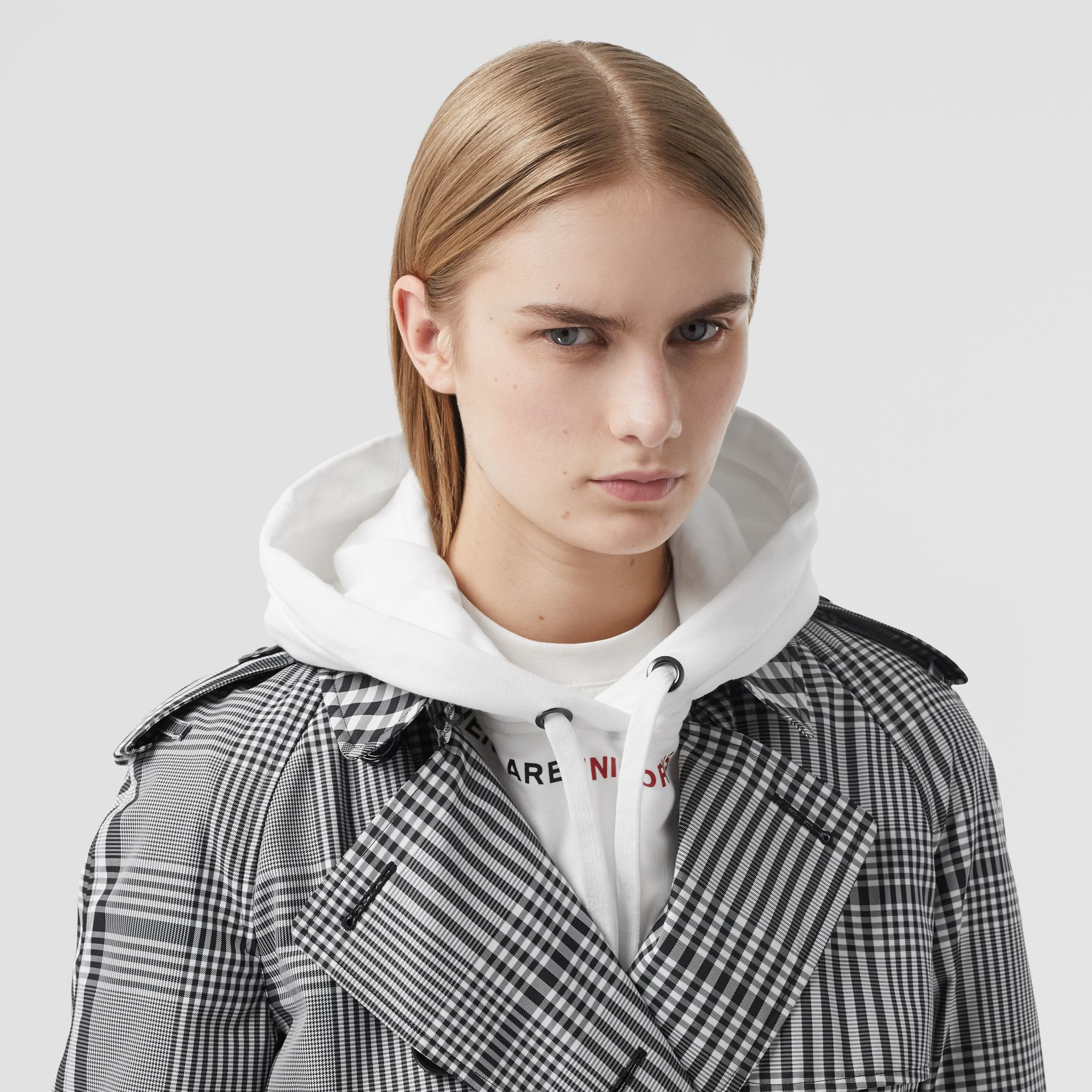Check Twill Trench Coat in Black/white - Women | Burberry United States - gallery image 1