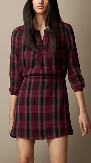 Textured Wool Blend Check Dress