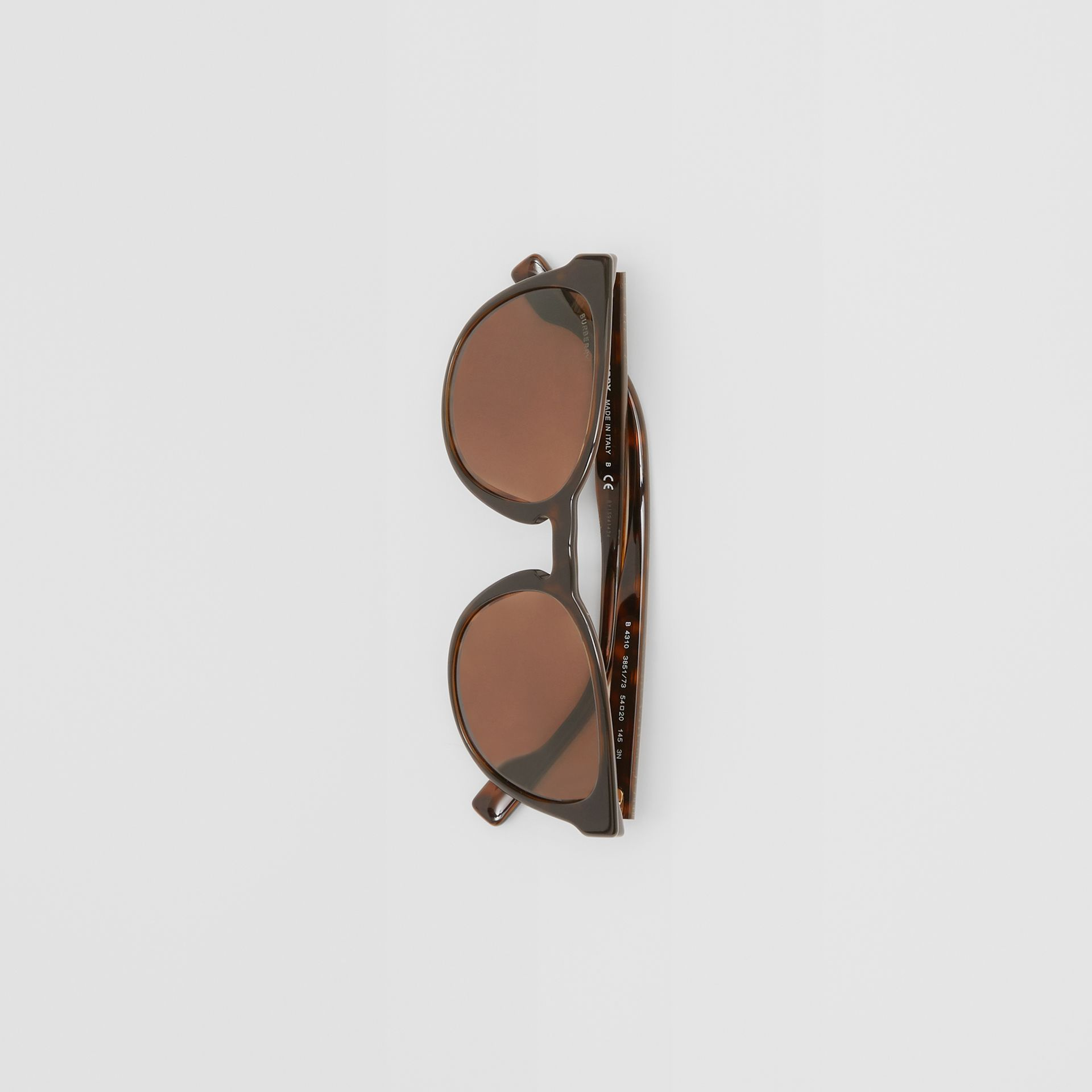 Round Frame Sunglasses in Tortoiseshell - Men | Burberry United Kingdom - gallery image 3